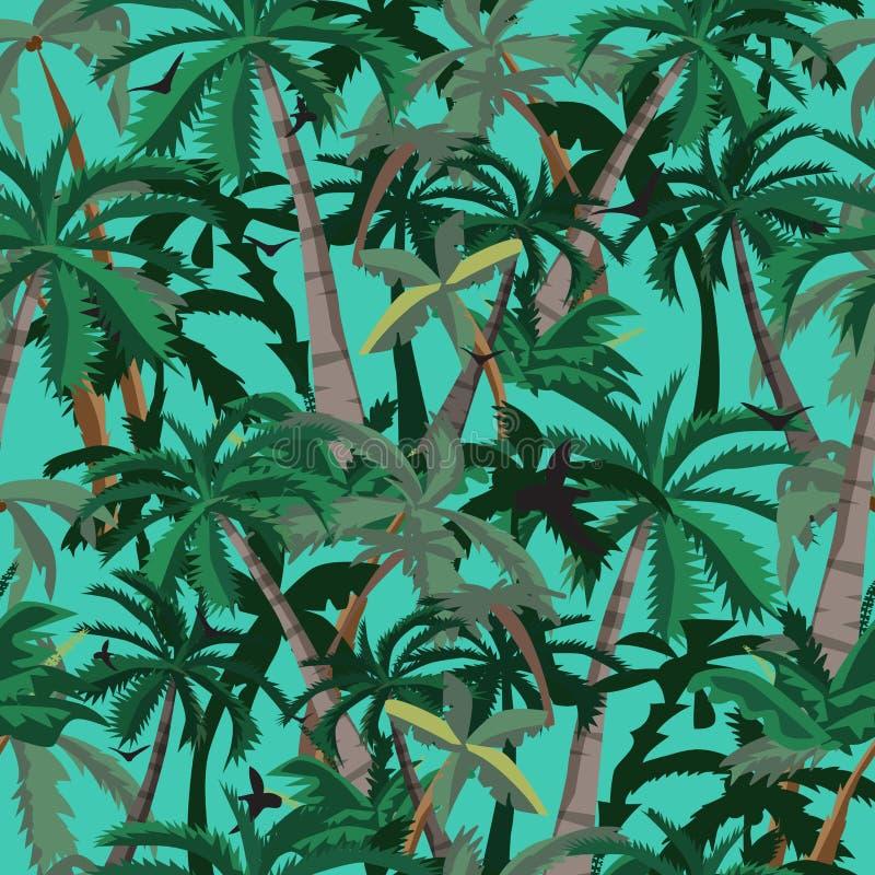 Palmiers sans couture de noix de coco de modèle Backgr de vecteur de style de bande dessinée illustration libre de droits