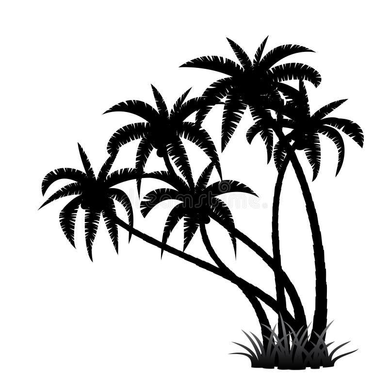 Palmiers silhouettés contre le ciel bleu illustration stock