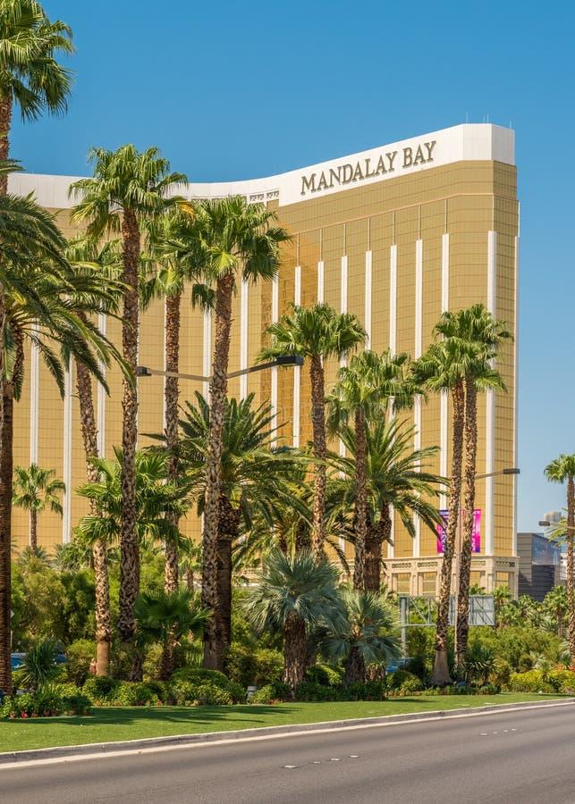 Palmiers sur Las Vegas Boulevard devant l'hôtel et le casino de baie de Mandalay photographie stock libre de droits