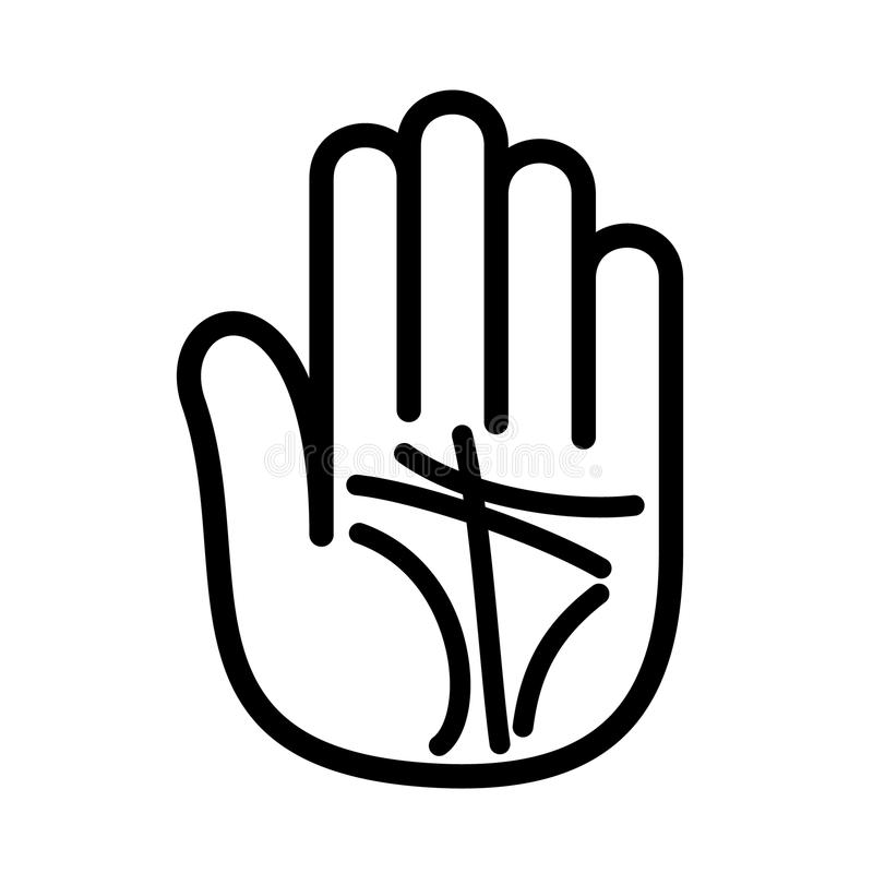 Palmistry lines hand open logo. Outline style. royalty free illustration