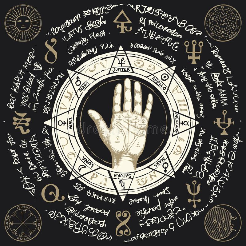 Palmistry map on open palm with old magic symbols stock illustration