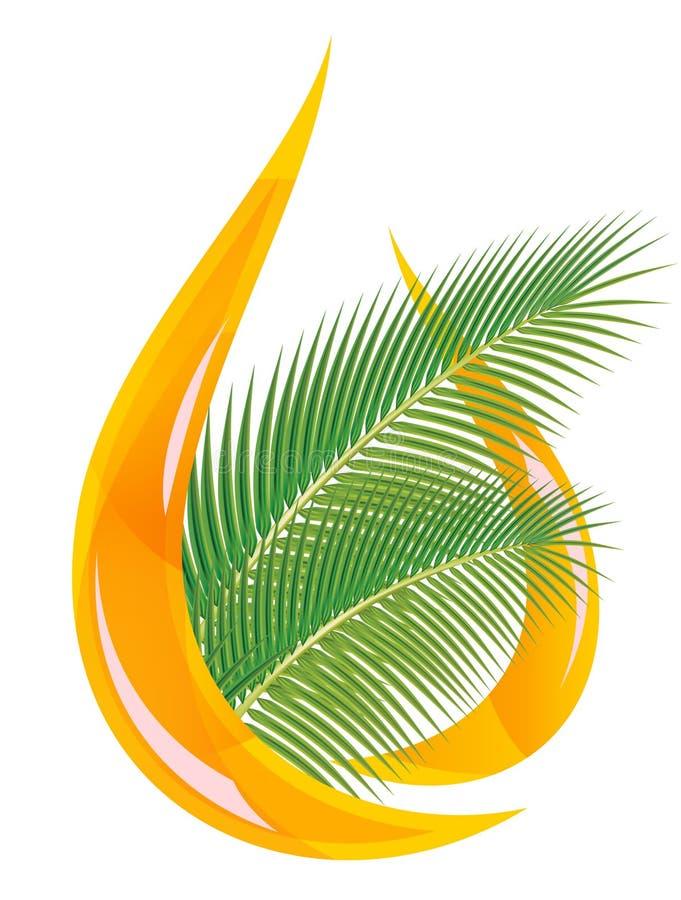 Palmolie. Gestileerde daling van olie en palmbladen. royalty-vrije illustratie