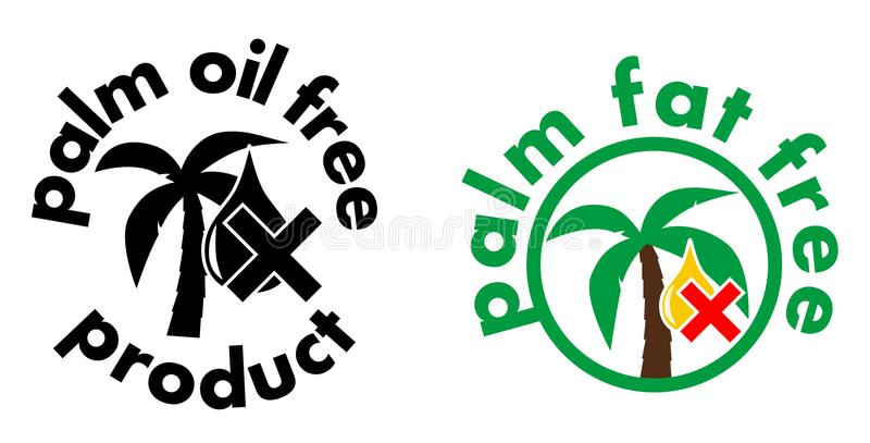 Palmolie/vet vrij productpictogram Boom en dalingssymbool met kruis De zwart-witte, of versie van het kleurenteken royalty-vrije illustratie