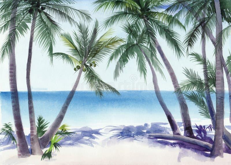 Palmowa miejscowość nadmorska ilustracji