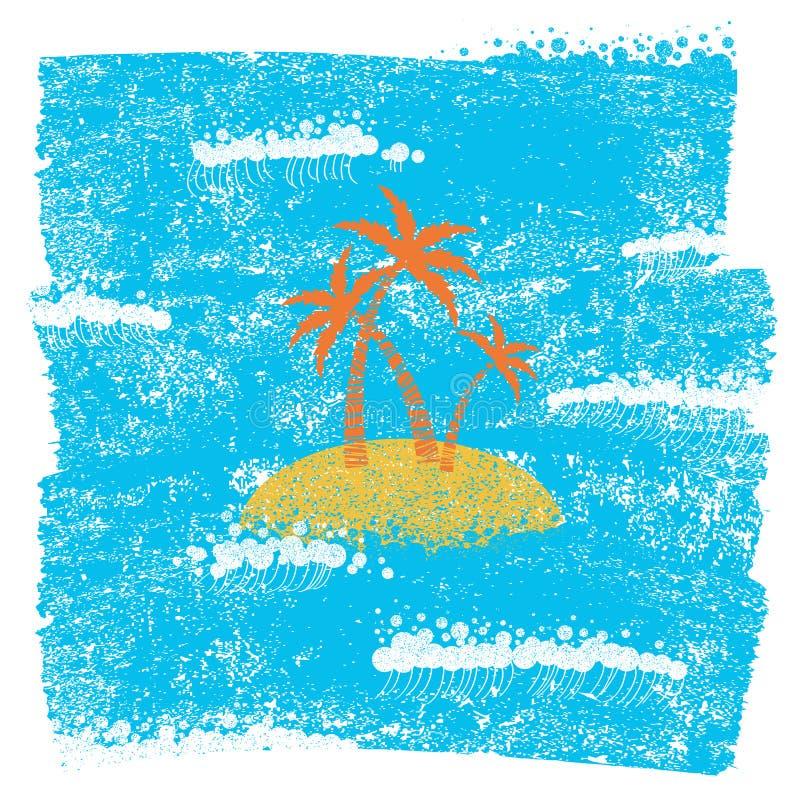 Palmowa wyspa i błękitny denny tło na grunge tapetujemy teksturę ilustracja wektor