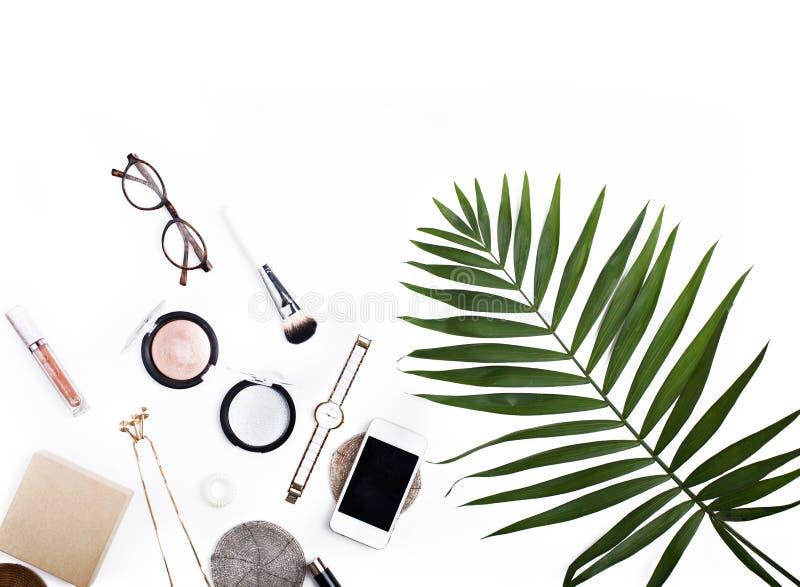 Palmowego liścia podróży pojęcia mieszkanie fotografia royalty free