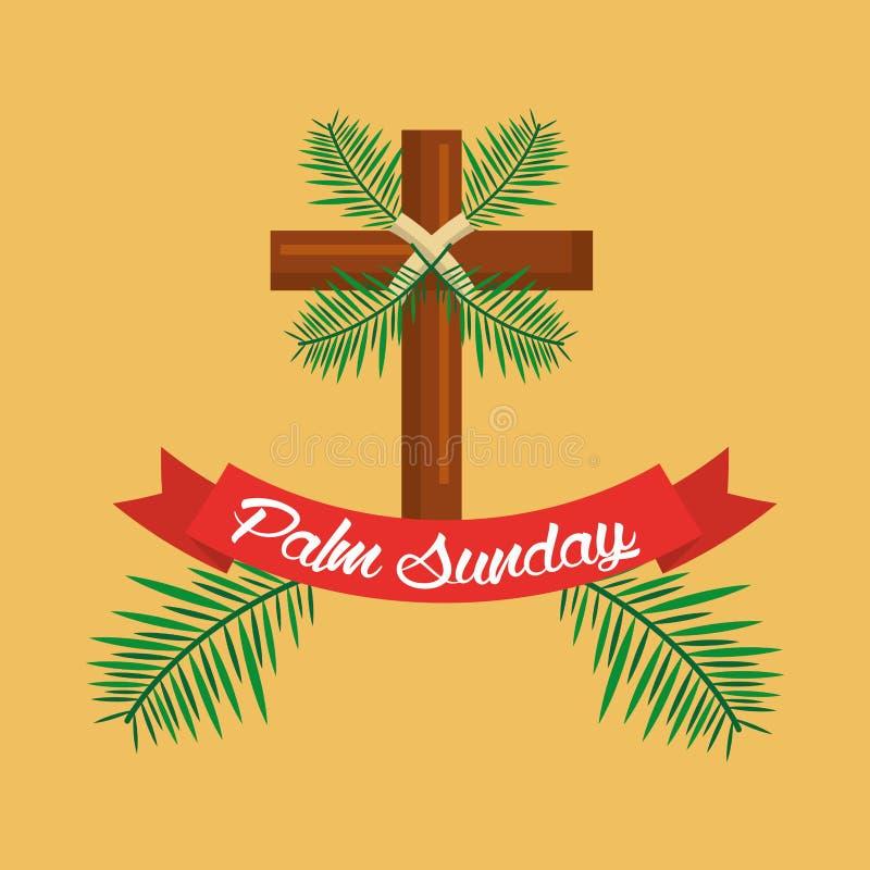 Palmowej Niedziela krzyża gałąź faborku świętowanie ilustracja wektor