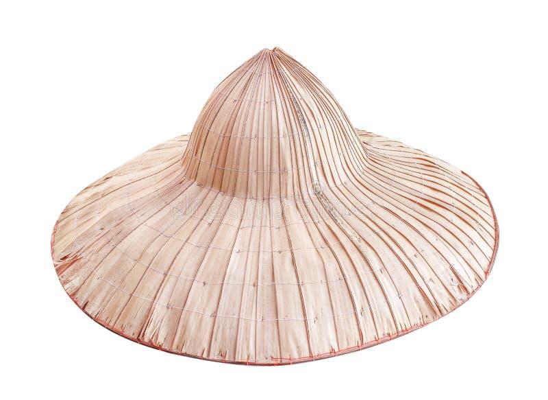 Palmowi chłopscy kapelusze odizolowywający na białym tle z ścinek ścieżką, tradycyjny tajlandzki handcraft naturalnych wzory robi zdjęcia stock