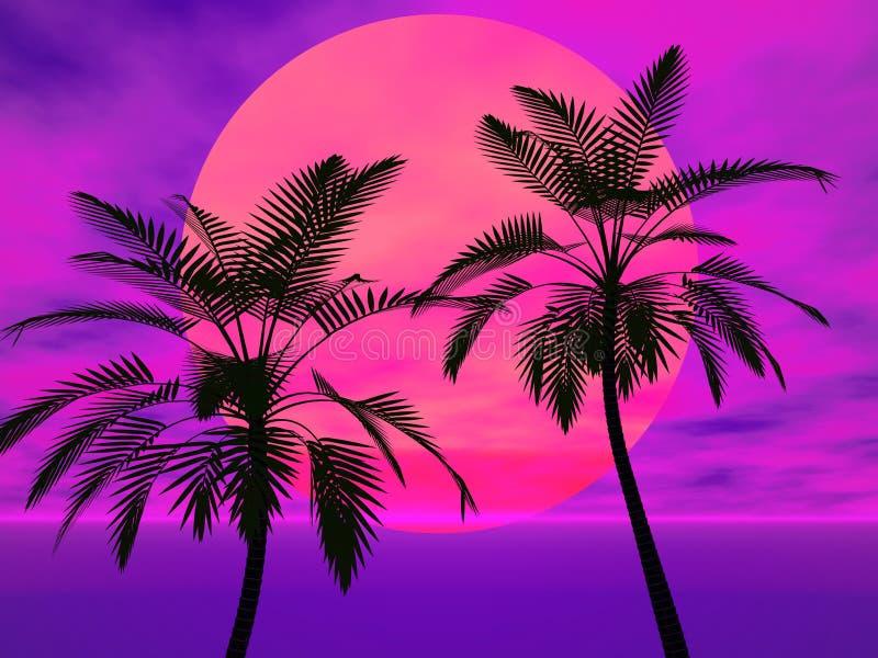 palmowi słońc drzewa royalty ilustracja