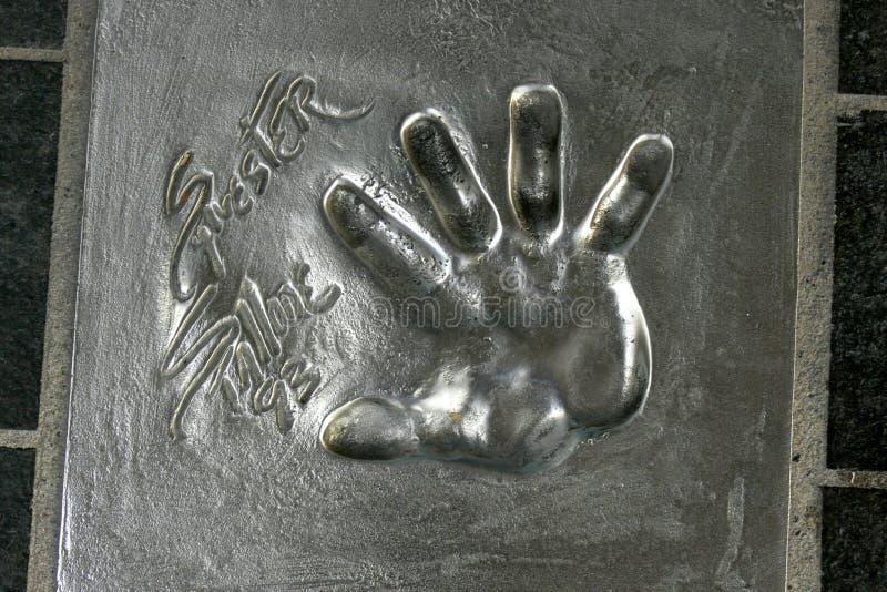 Palmowy druk Sylvester Stallone, Holywood gwiazda w Cannes, Francja obraz stock