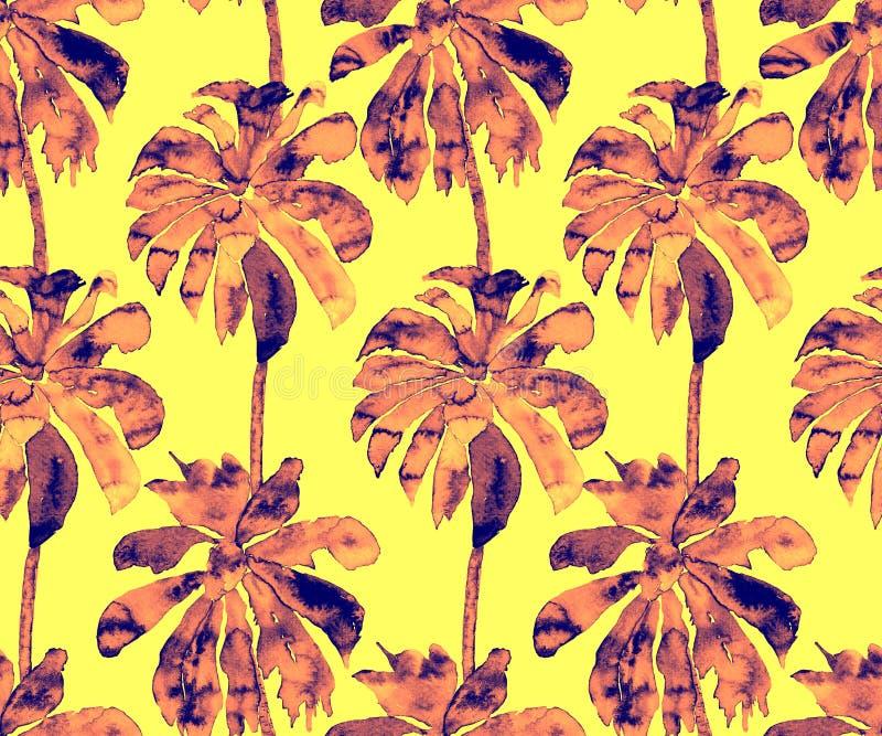 Palmpatroon Exotisch Waterverf Naadloos Patroon vector illustratie