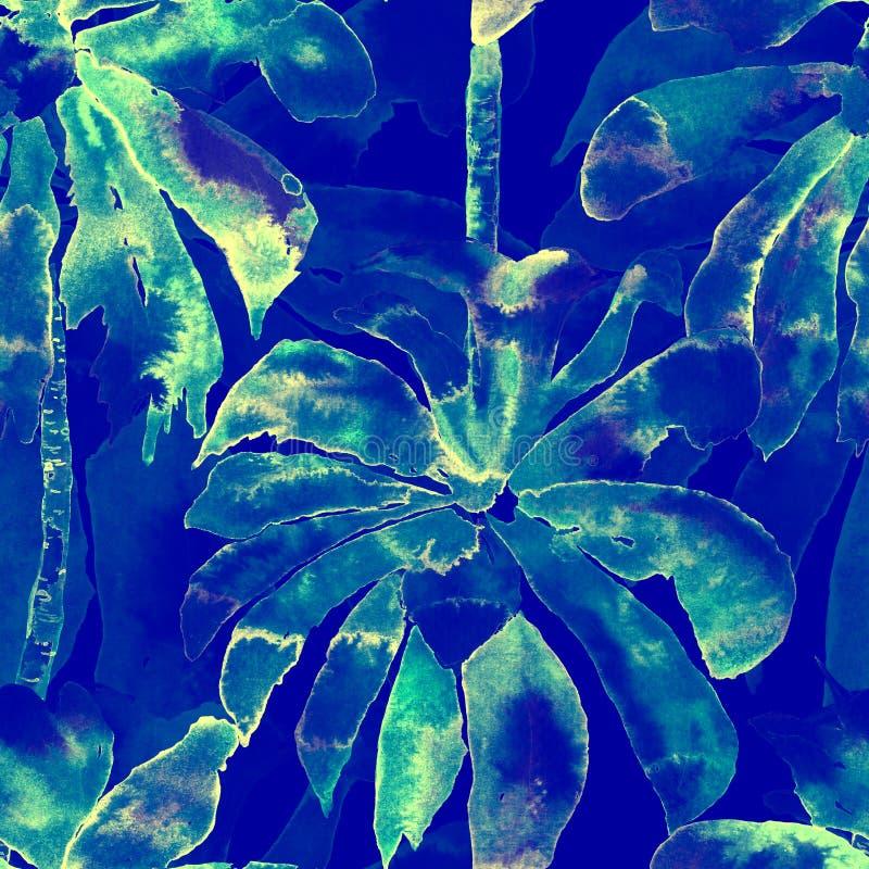 Palmpatroon Exotisch Waterverf Naadloos Patroon royalty-vrije illustratie