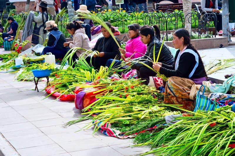 Palmsöndag i Sucre, Bolivia royaltyfria foton