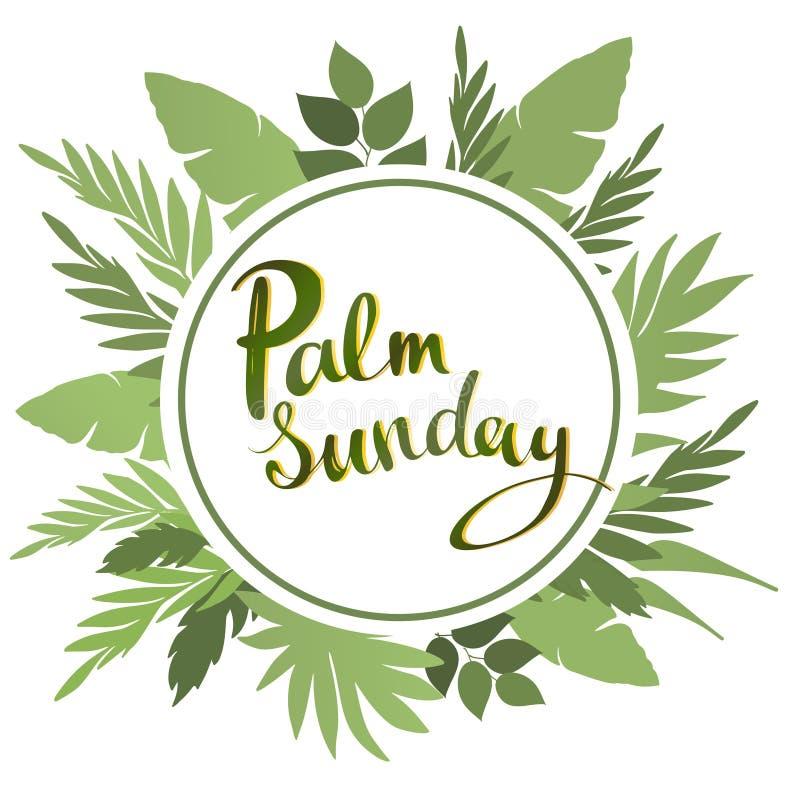 Palmsöndag som märker kortet citationstecken som planlägger hälsningkortet, affisch, baner, tryckbar väggkonst, t-skjorta och ann stock illustrationer
