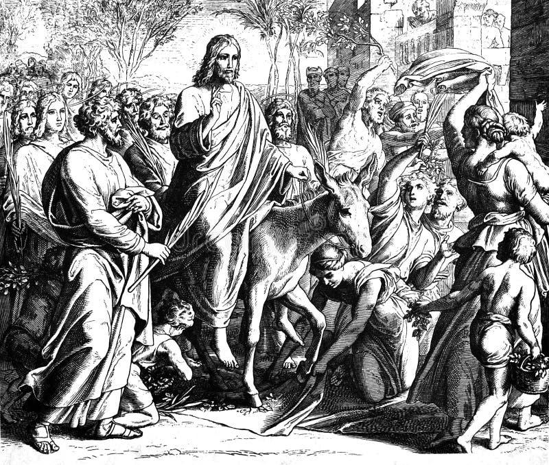 Palmsöndagtillträde av Jesus royaltyfri foto
