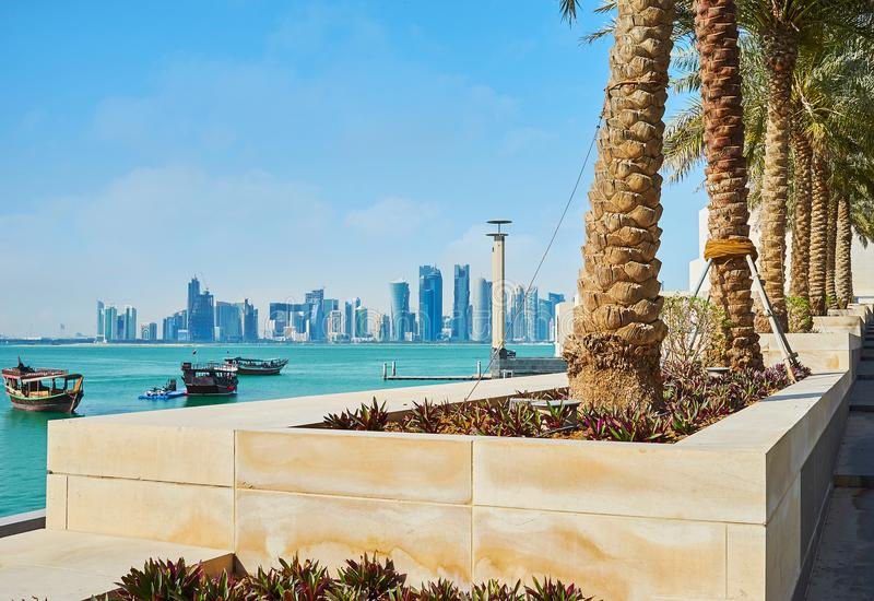 Palms along the coast, Doha, Qatar. The palm alley along the way to Museum Island with a view on coast of Persian Gulf and modern architecture of business stock image