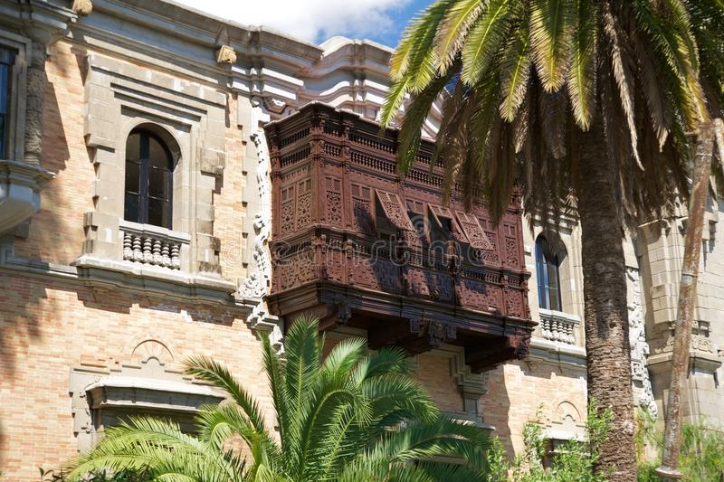 Download Palms And Ancient Wood Balcony Stock Image - Image: 17903183