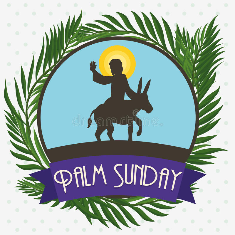 Free Palms Around Circle With Jesus In A Donkey For Palm Sunday, Vector Illustration Royalty Free Stock Image - 68116996