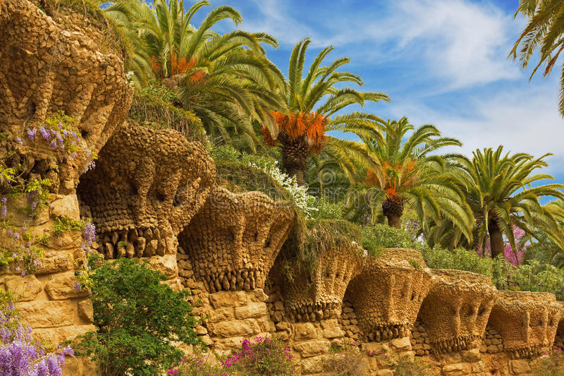 Palms in Park Guell stock photos