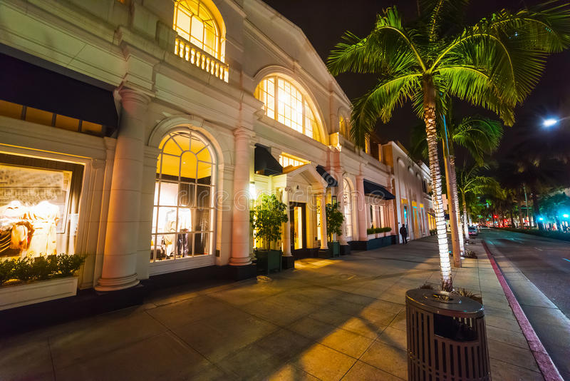 Palms in Rodeo Drive at night. California stock image