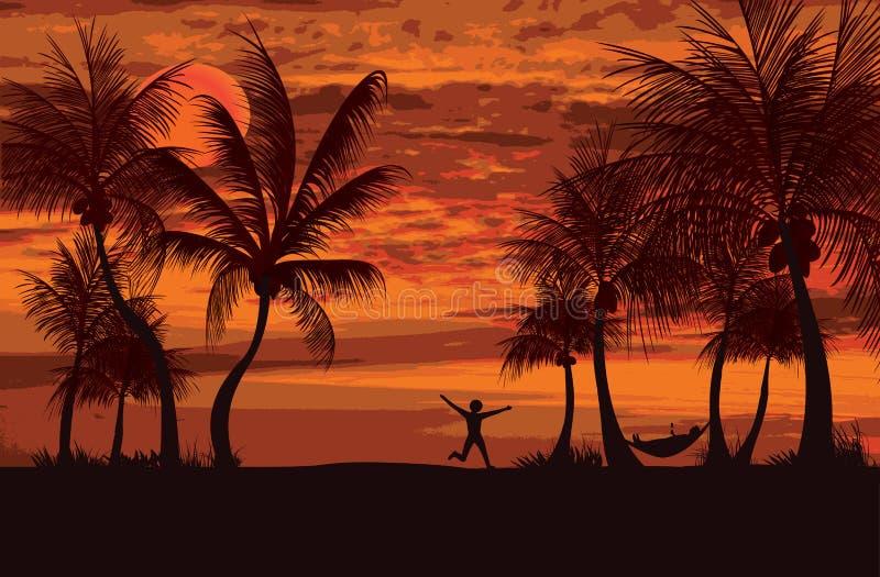 Palms siesta time stock illustration
