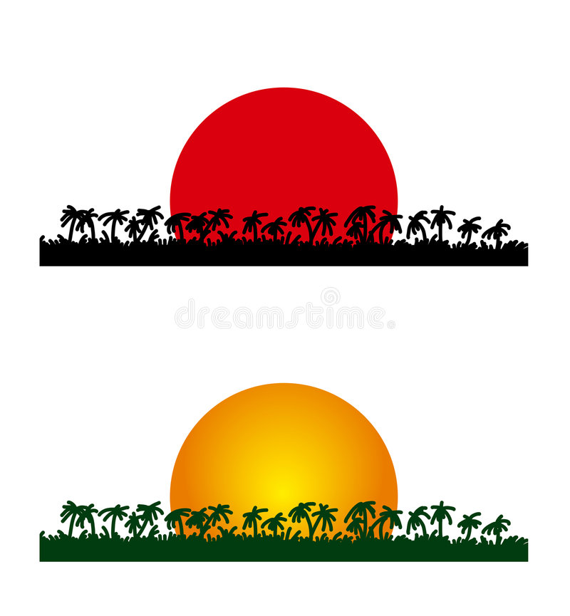 Palms and sun. Vector illustration of palms and sun in evening and morning royalty free illustration
