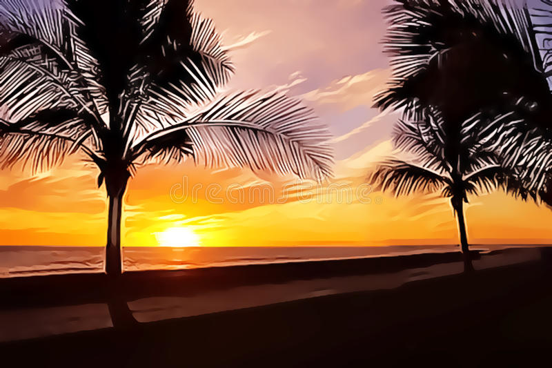 Palms and sunset vector illustration