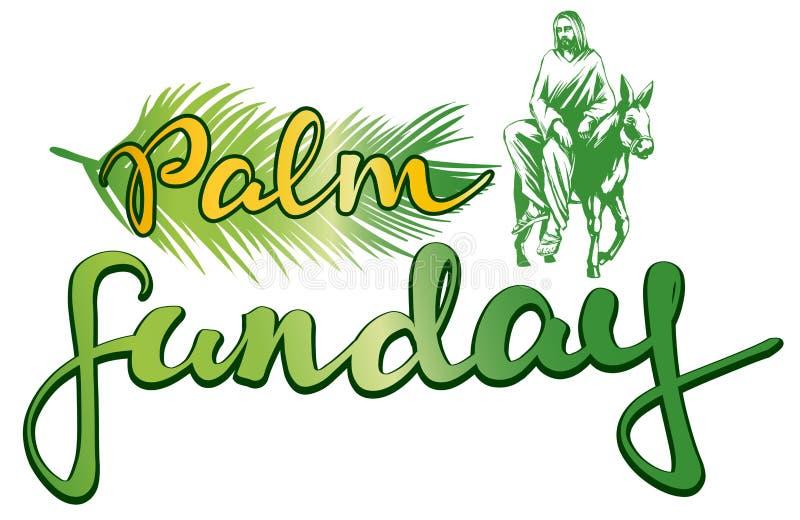 Palmsonntag, Jesus Christ fährt auf einen Esel in Jerusalem, Symbol des Christentumsvektorillustrations-Skizzenlogos vektor abbildung