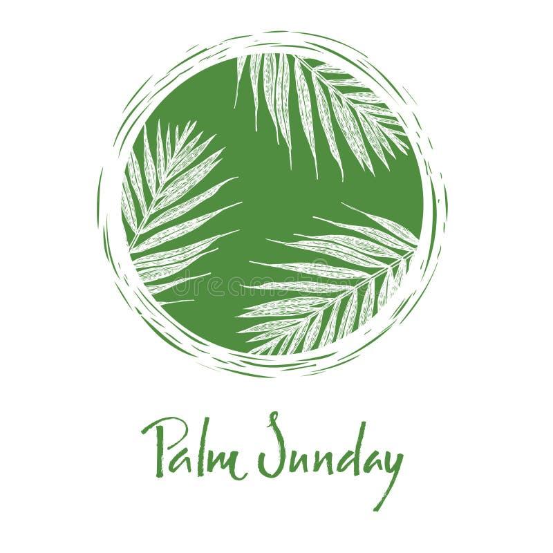 Palmsonntags-Kalligraphiekarte Handbeschriftung Vektorillustration stock abbildung