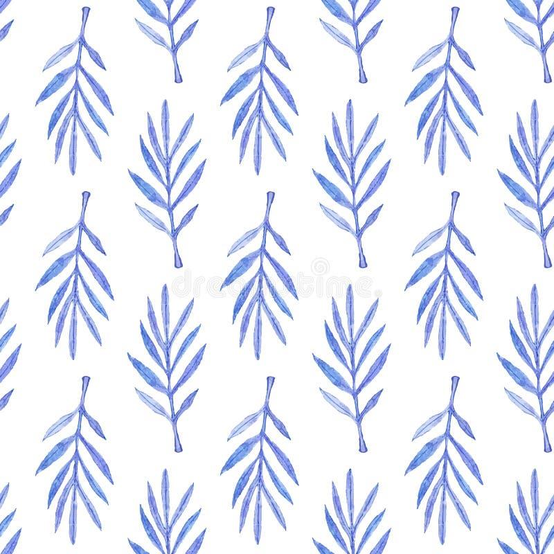 Palmtak Naadloos patroon met bladeren Hand-drawn achtergrond Vector illustratie stock illustratie