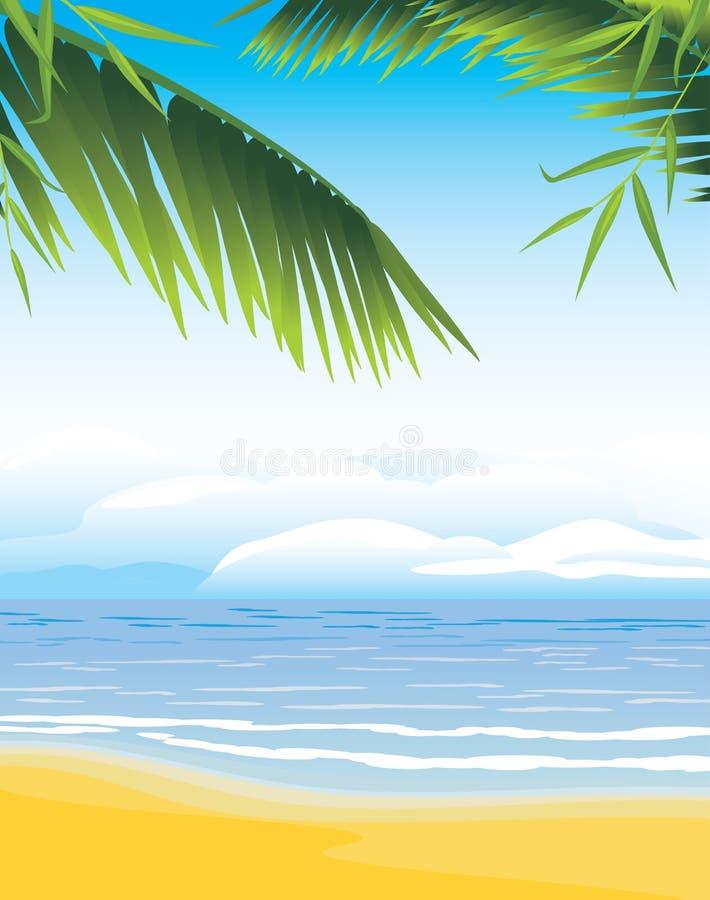 Palmtakken op de kustlijnachtergrond stock illustratie