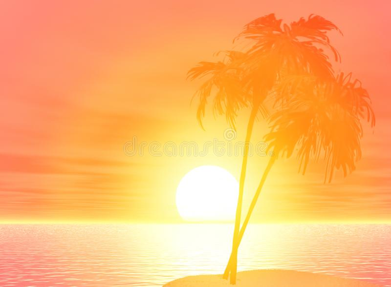 Palmträd för bakgrund för fritidloppvändkretsar sätter på land illustrationen för solen för havshavinställningen 3D royaltyfri illustrationer