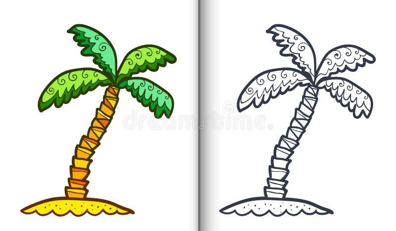 Palmträd för gräsplan för vektorklotterstil Sidor för färgläggningbok med klar lineart och den färgade prövkopian royaltyfri illustrationer