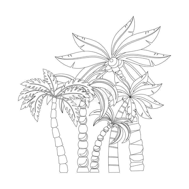 Palmträd för sidor för färgläggningbok stock illustrationer