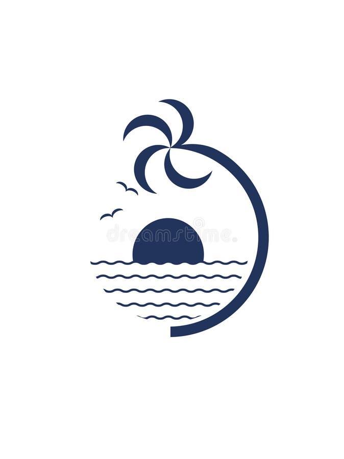 Palmträd, havsfiskmåsar, sol och hav royaltyfri illustrationer