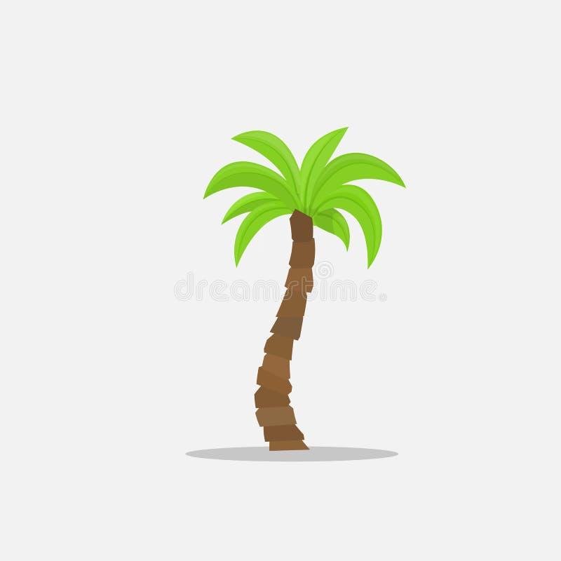 Palmträd i tecknad film utformar isolerat på den vita bakgrundsvektorillustrationen Tropisk sommarträdväxt på naturen för royaltyfri illustrationer