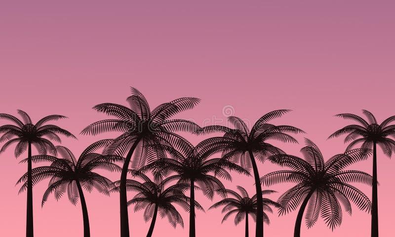 Palmträd mot den rosa himlen romantisk solnedg?ng framf?rande 3d vektor illustrationer