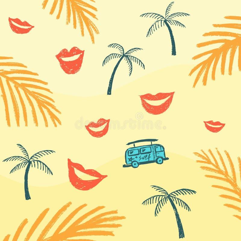 Palmträd och buss på sanden royaltyfri illustrationer