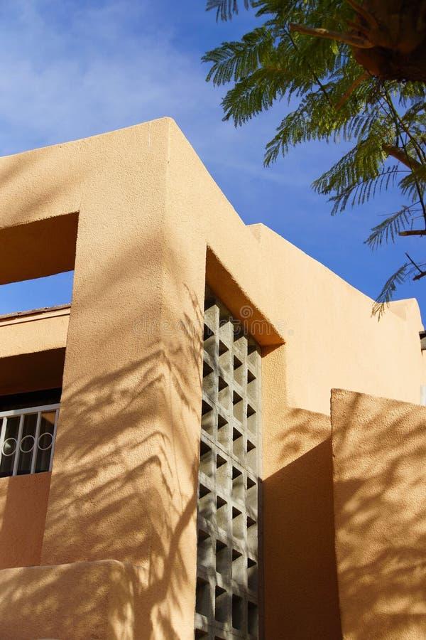 Palmträd och sydvästlig arkitektur arkivbilder