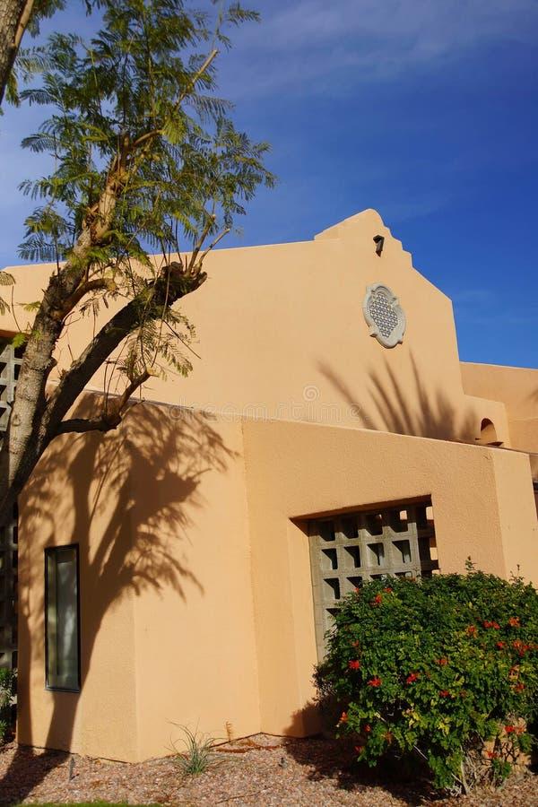 Palmträd och sydvästlig arkitektur arkivfoto