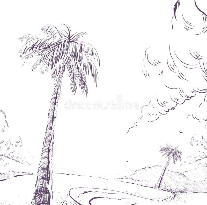 Palmträd på kust och molnet för sandig strand royaltyfri illustrationer