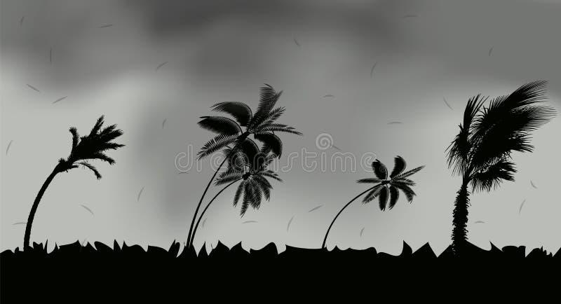 Palmträd under storm och orkan Sidor flyger över himlen från en storm också vektor för coreldrawillustration stock illustrationer