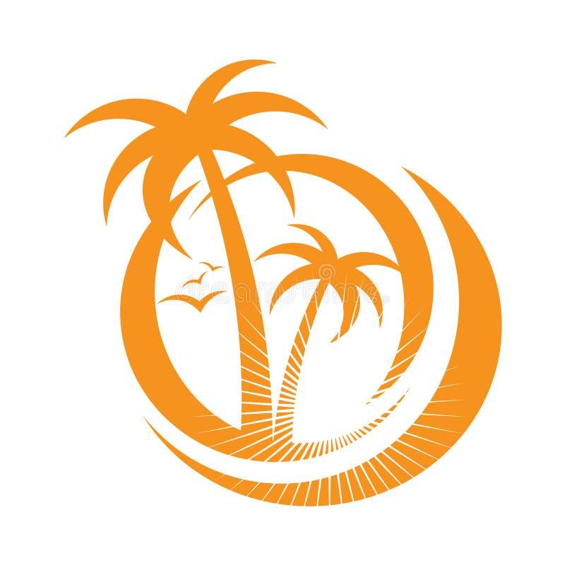 Palmträdemblems. symbolen undertecknar. designbeståndsdel stock illustrationer