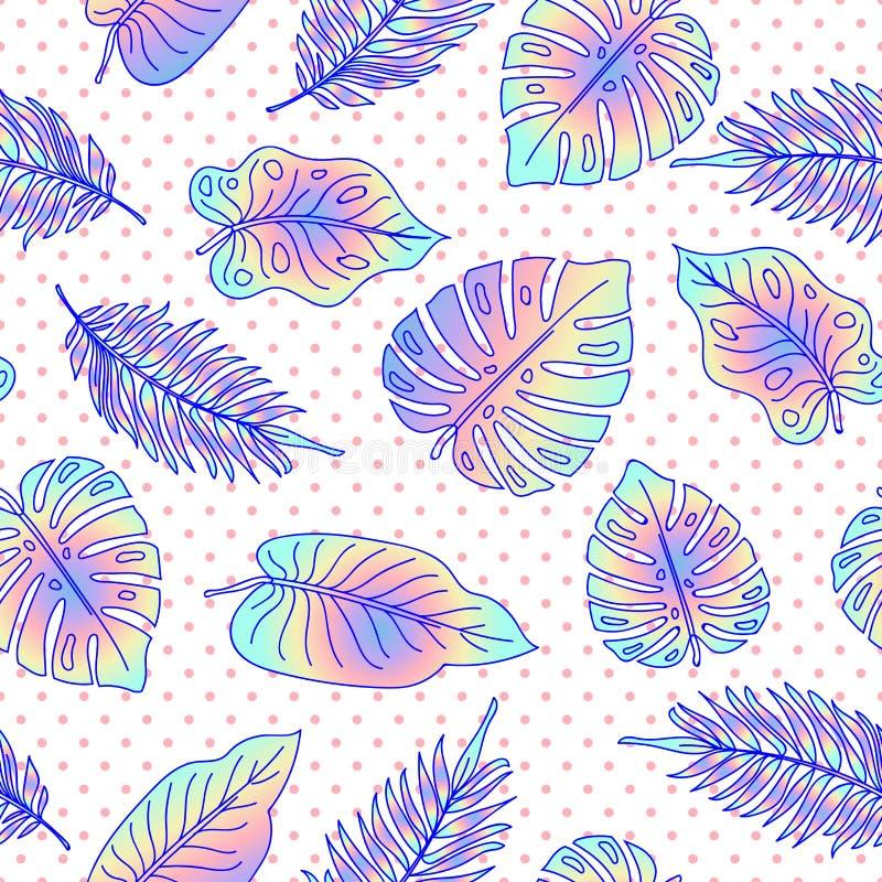 Palmträdet lämnar den sömlösa modellen med prickar vektor illustrationer