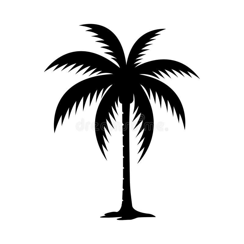 Palmträdkonturvektor royaltyfri illustrationer