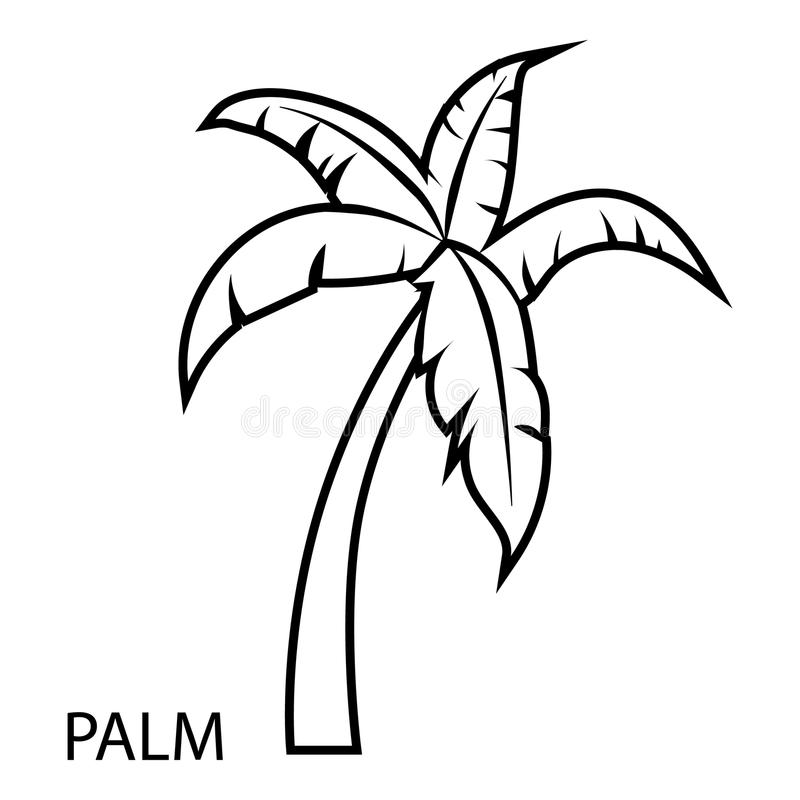 Palmträdsymbol, översiktsstil stock illustrationer