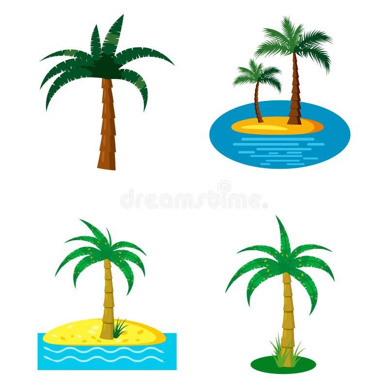 Palmträdsymbolsuppsättning, tecknad filmstil royaltyfri illustrationer