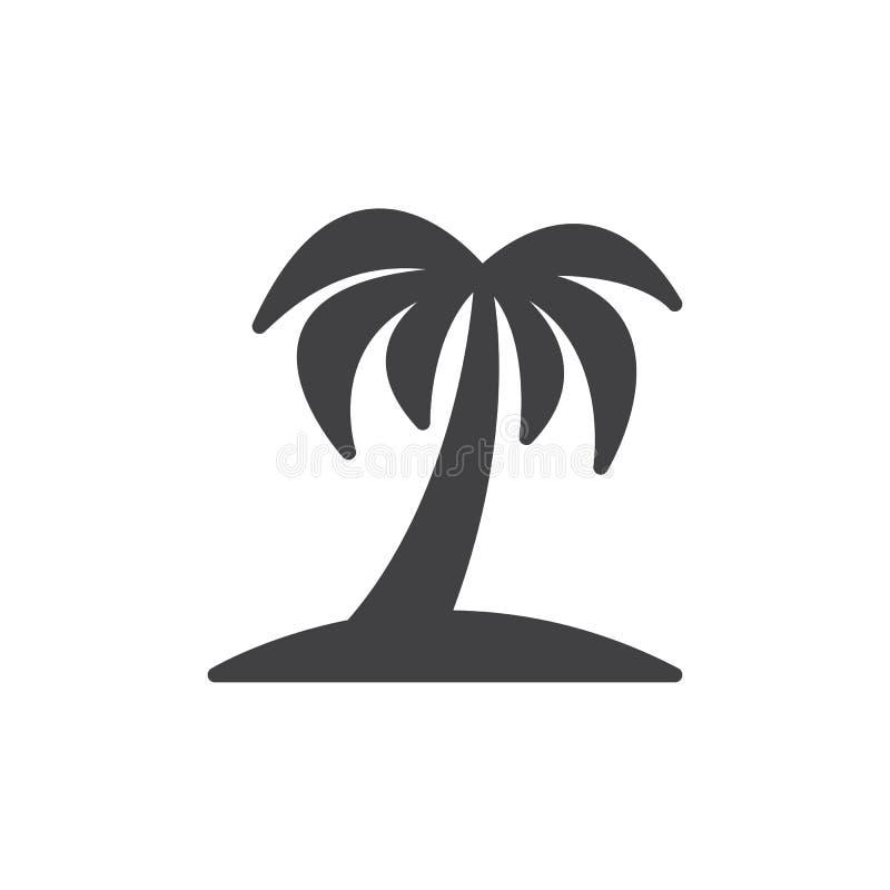 Palmträdsymbolsvektor, fyllt plant tecken, fast pictogram som isoleras på vit stock illustrationer