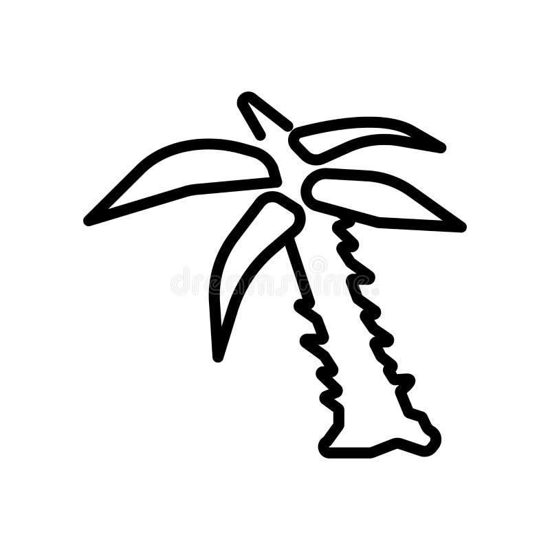 Palmträdsymbolsvektorn som isoleras på vit bakgrund, palmträd undertecknar royaltyfri illustrationer
