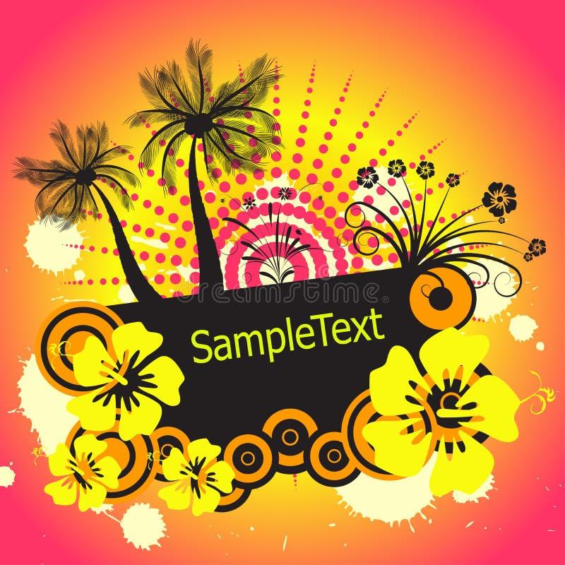 Palmtree e fiori di vettore illustrazione di stock